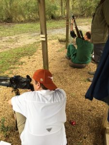 Jeff Cloud (white) shooting his HW97k Hunter style against Randy Smith (green) shooting the Walther LGU WFTF style